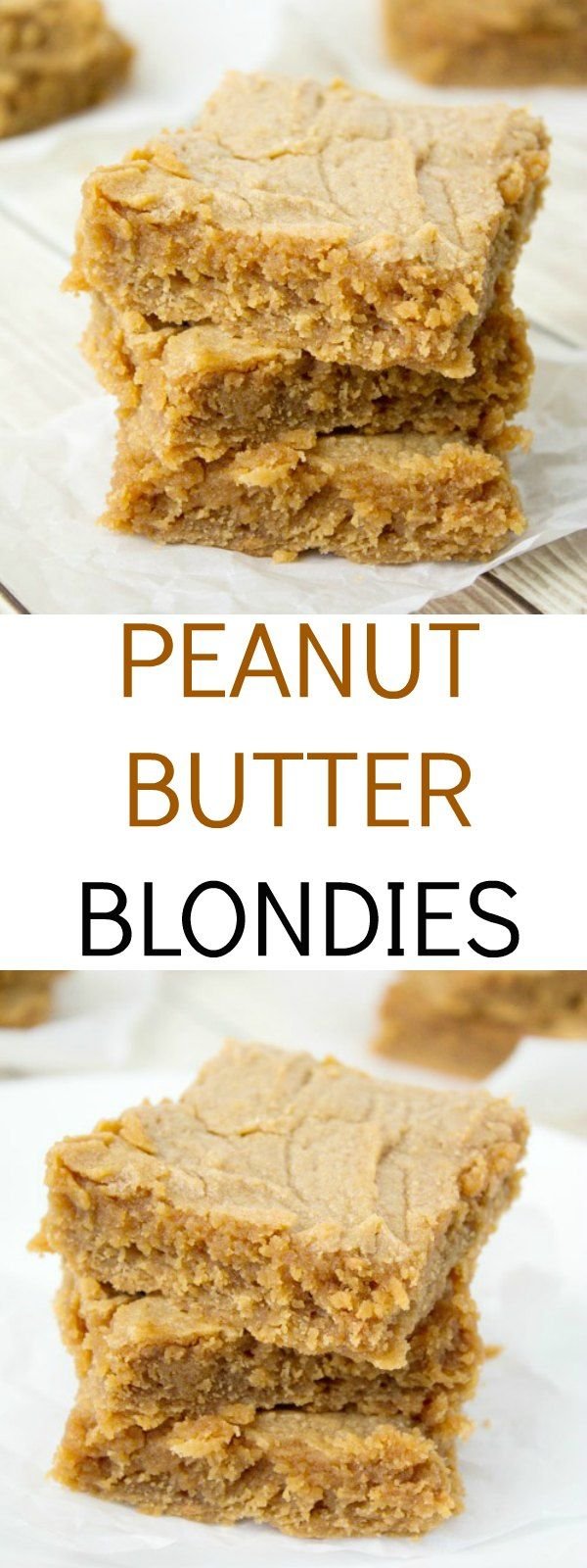 An easy and delicious peanut butter blondie recipe – you will not miss the chocolate at all. Great peanut butter taste and an ultra-fudgy center. I added 1/2 cup chocolate chips and 1/2 tsp almond extract.