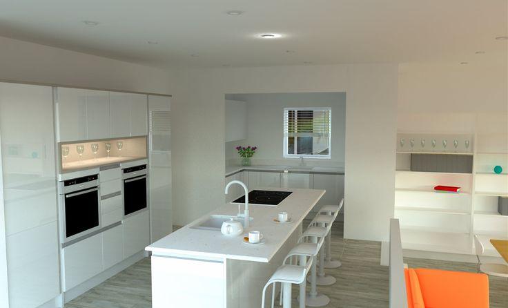 High White Gloss Handle Less Kitchen With Glacier White Mistral Worktop.  Silver Birch Flooring. #white #gloss #kitchen #linear #handless #island #u2026