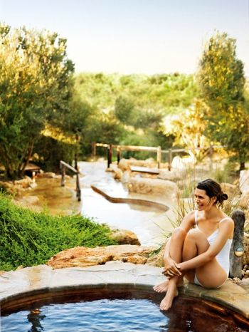 Peninsula Hot Springs Just 90 miles from Melbourne, the Peninsula Hot Springs is an idyllic setting with over 20 bathing experiences. The natural thermal waters flow from an underground aquifer 637 meters below ground.