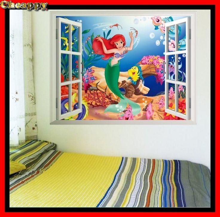 De kleine zeemeermin 3D Muursticker voor kinderkamer, raam of muur