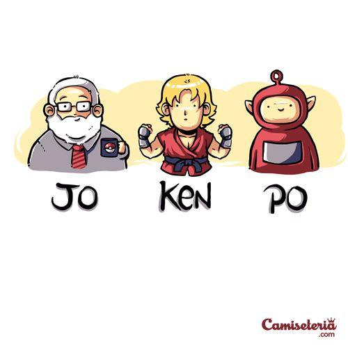 Camiseta 'JO-KEN-PO' - Catalogo Camiseteria.com   Camisetas Camiseteria.com - Estampa, camiseta exclusiva. Faça a sua moda!