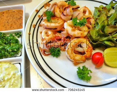 Grilled Squid with Mayonnaise and Japanese Sauce, Japanese Style Food