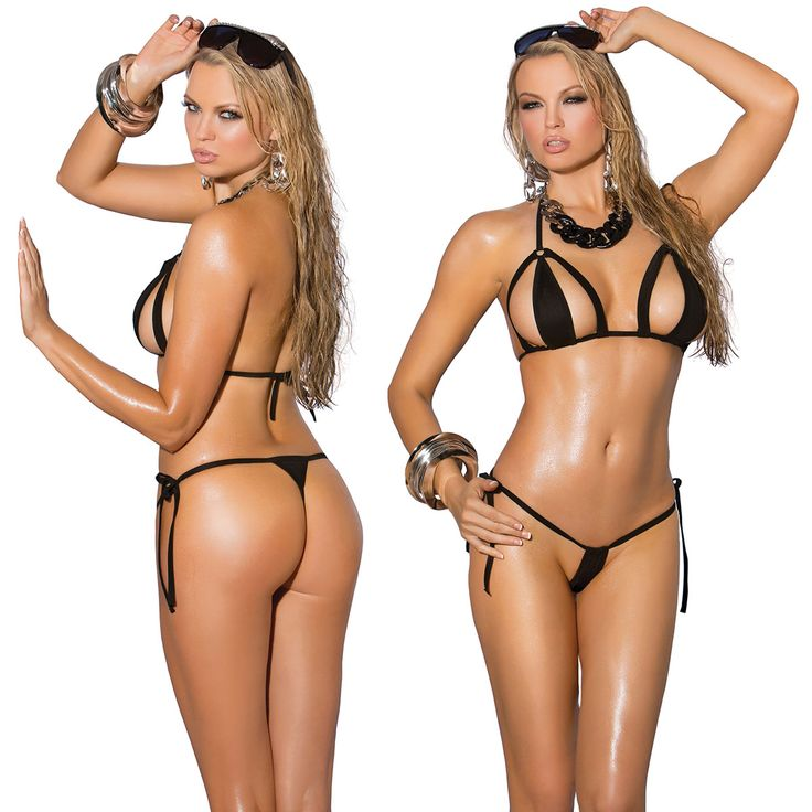 Elegant Moments Black Lycra Bikini Top with Matching G-string. One size. Cut out bikini top with side tie g-string. Accessories not included. Item 81280.