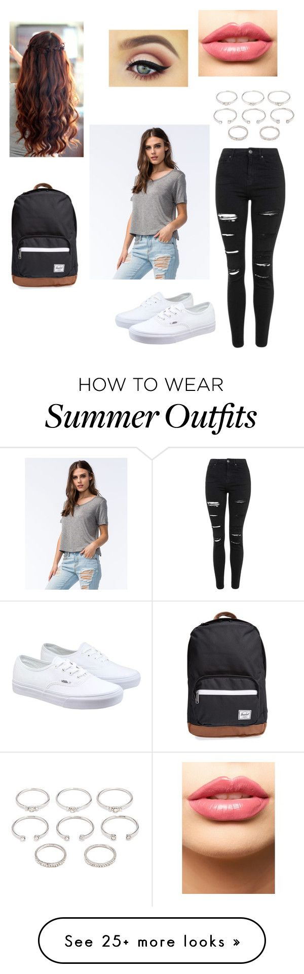 """""""Cute school day"""" by princesspink-13 on Polyvore featuring Full Tilt, Topshop, Forever 21, Vans, LASplash, Herschel Supply Co., women's clothing, women's fashion, women and female"""