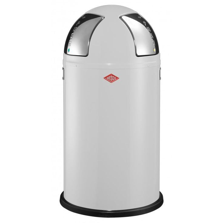 Wesco Push Two Recycling Bin, White - 50L - Binopolis
