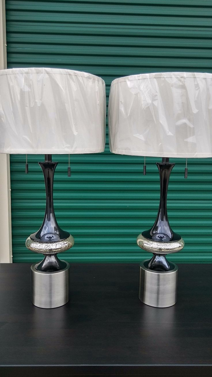 #2381 - 2 Piece Matching Contemporary Lamp Set - Silver