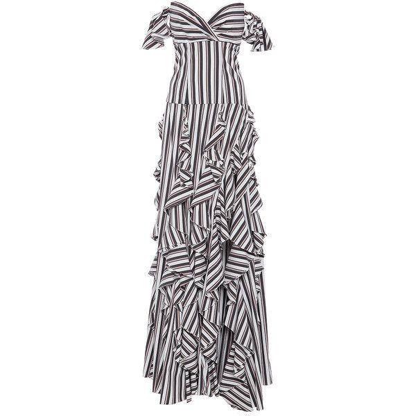 Caroline Constas     Stripe Ruffle Gown ($1,200) ❤ liked on Polyvore featuring dresses, gowns, caroline constas, stripe, elbow sleeve dress, off the shoulder evening dresses, striped dress, off the shoulder dress and flounce dress