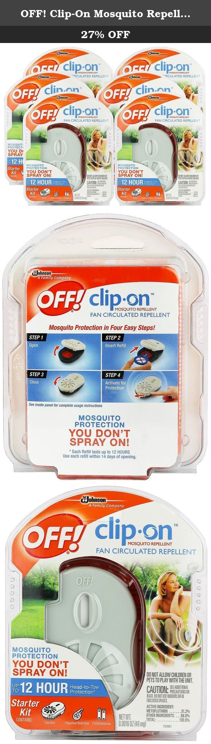 OFF! Clip-On Mosquito Repellent Fan 6-Pack. Mosquito protection you don't spray on! Head to toe protection for up to 12 hours. Contains: 1 repellent fan unit, 1 refill, 2 AAA batteries. Great for backyard, gardening, watching sports, at the beach, camping, at the park.