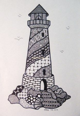 Zen Tangle 15 made by Miekrea NL - Lighthouse (colouring) - Febr. 2013