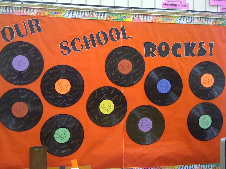 Our School Rocks Music Bulletin Board. Use old records