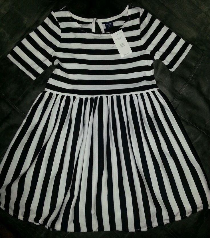 Details about Baby Gap Toddler Girls Printed Black &amp White Striped ...