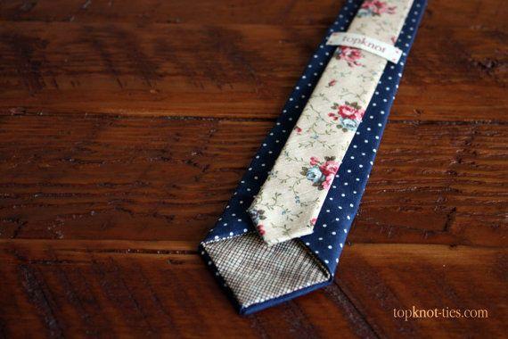 Men's casual skinny tie  navy blue polka dot  beige by TopknotTies, $60.00