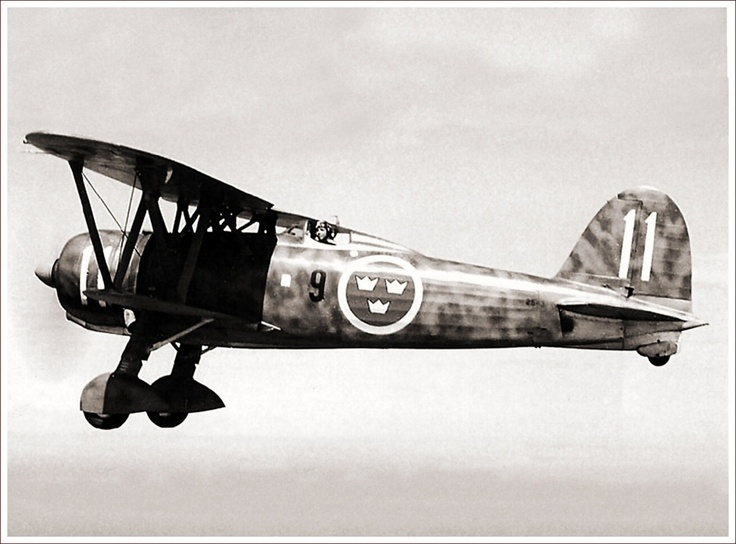 A Fiat CR.42 of the Swedish Air Force, Division 1, F9 (9th Wing) based at Säve, Göteborg in  1940-41. The pilot is Rüne Larssen