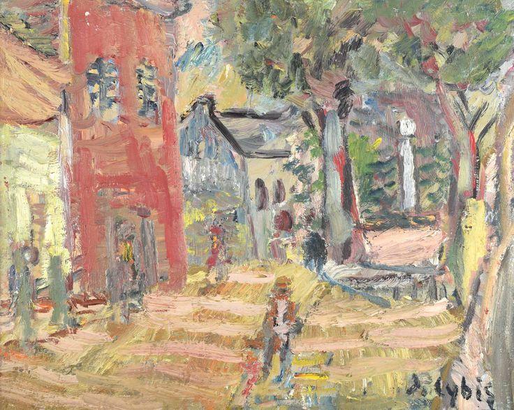 """Cybis Jan (1897-1972) """"Pomnik Mickiewicza w Starym Sączu"""""""