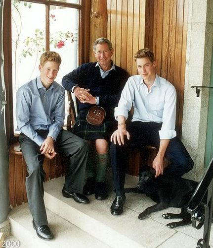 Prince William&Prince Harry with Lupo and Prince Charles