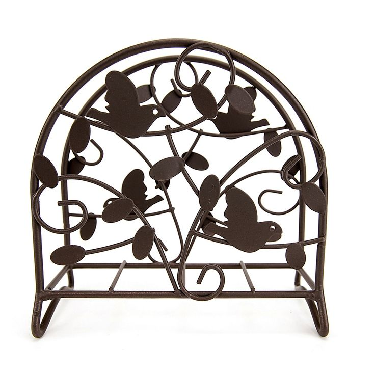 Home Basics Bird & Flower Napkin Holder Dark Brown
