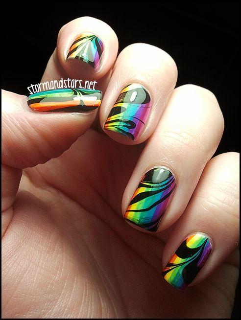 31dc2012 Day 10 Gradient Nails: Rainbow Watermarble Nail Art