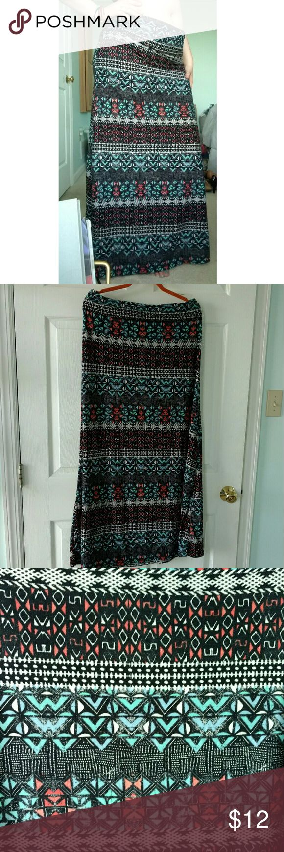 Tribal Maxi Skirt Super stretchy and comfortable! Hot Kiss Skirts Maxi
