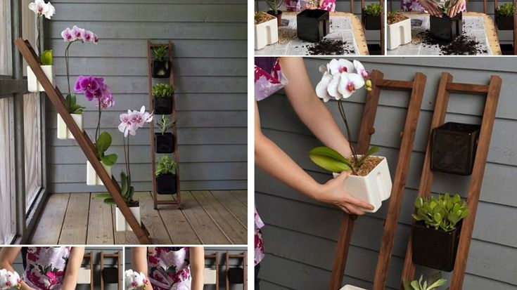 porte pots jardiniere échelle bois