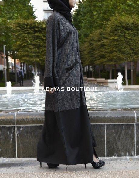 Charcoal Grey Block Open Abaya
