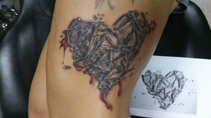 38 best gray heart tattoo images on pinterest tattoo for Shattered glass tattoo