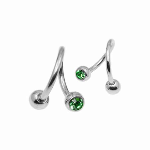 Classic Twister with Green Gems Double Jewelled Balls - Pierce of Mind