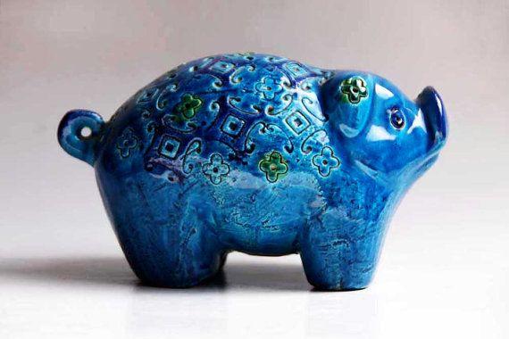 Vintage Pig Figurine  Bitossi 60s by 1001vintage on Etsy