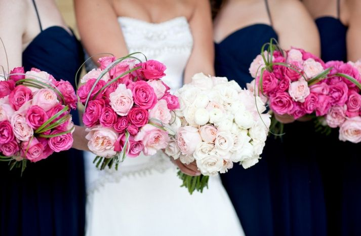 Pale Pink Wedding Flowers | light-pink-dark-pink-wedding-flowers-bridal-bouquet-with-bridesmaids ...