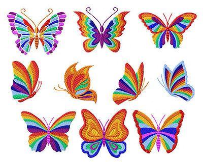 Arco Iris Mariposas bordado a máquina Diseños 4x4