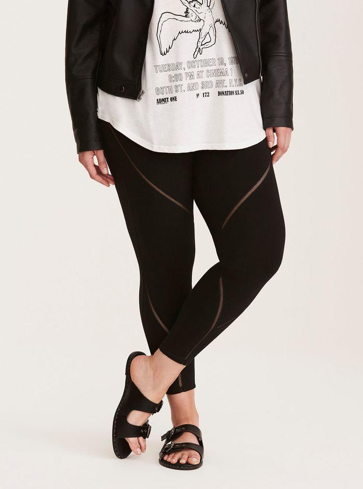 Plus Size Lace Inset Cropped Leggings, BLACK