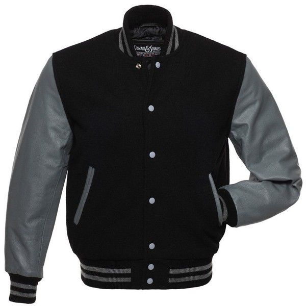 C123 Black Wool Grey Leather Letterman Jacket Varsity Jacket ($199) ❤ liked on Polyvore featuring outerwear, jackets, real leather jackets, wool letterman jackets, grey jacket, wool varsity jacket and grey leather jacket