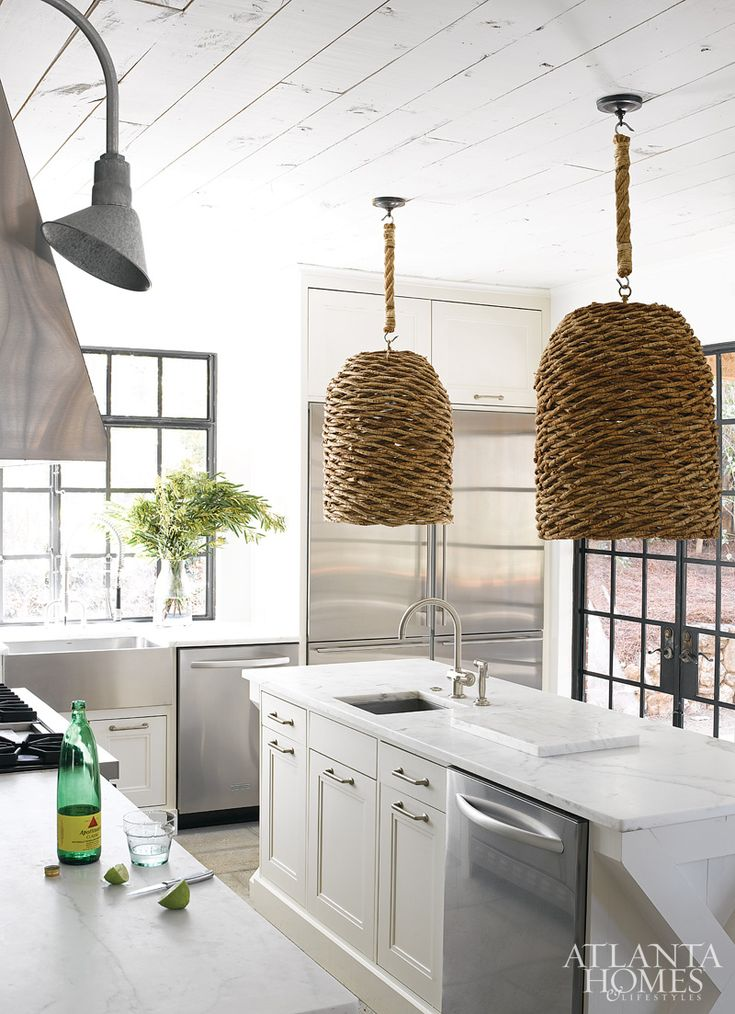 basket-style hanging fixtures // kitchen by Kay Douglas