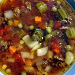 Slow Cooker Veggie-Beef Soup with Okra Recipe - Allrecipes.com      1 pound ground beef      1/4 cup onion, chopped      1 (14.5 ounce) can diced tomatoes, drained      1 (14.5 ounce) can Italian diced tomatoes, drained      1 (16 ounce) package frozen mixed vegetables      1 cup sliced fresh or frozen okra      2 potatoes, peeled and chopped      1 tablespoon ketchup      salt and pepper to taste