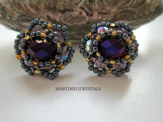 Purple Crystal Studs Swarovski Purple Rainbow by MARTINELICRYSTALS