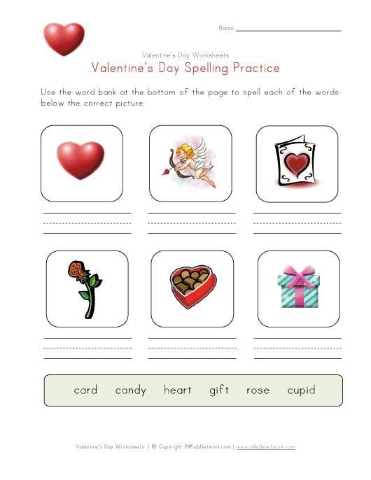 Valentines Day Spelling Practice