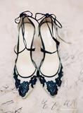 Bella Belle Anita Black lace floral evening shoes