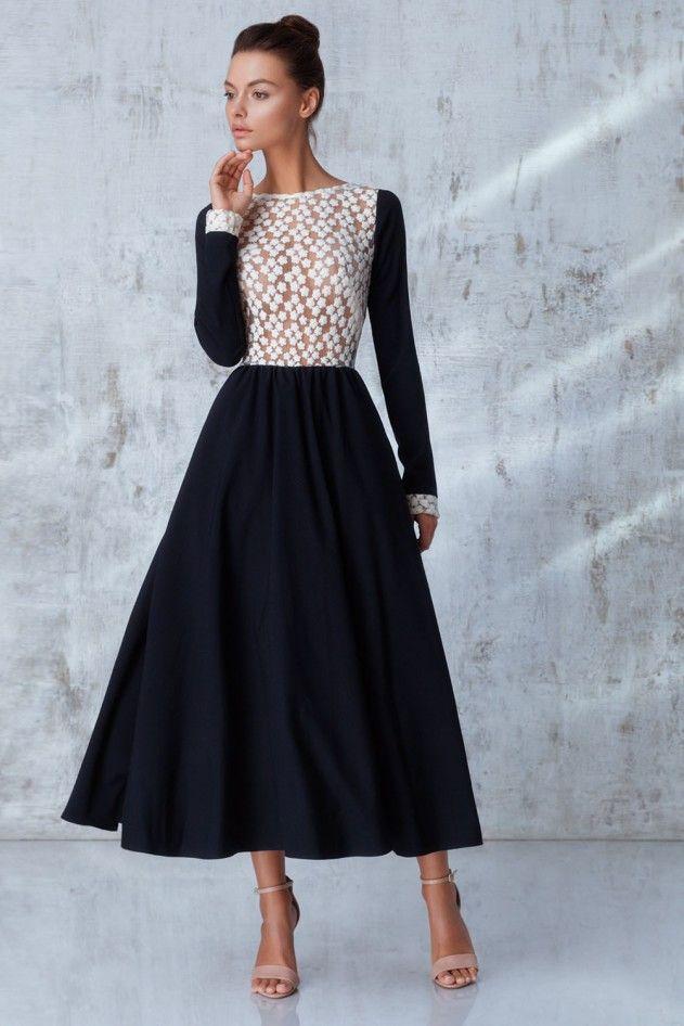 Платье «Руслана» миди, темно-синее с белым кружевом, Цена— 27990 рублей