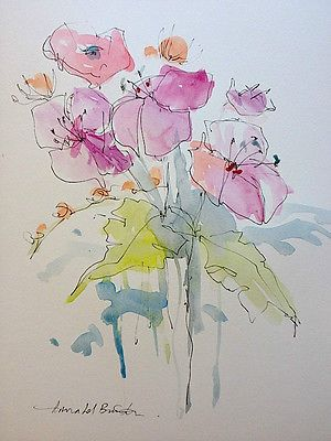 Original Water Colour and ink Painting 'Blooms'. Signed.