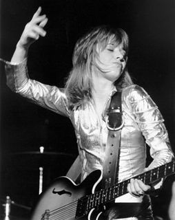 "Suzi Quatro: ""first female bass player to become a major rock star."" Not as famous as Joan Jett, who she directly inspired, but I like her music better. I try to ignore the whole ""Happy Days"" thing."