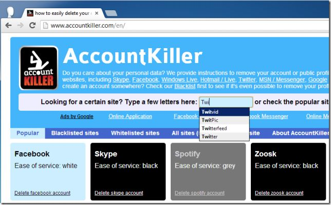 AccountKiller Lets You Delete Unwanted Online Accounts From Famous Websites
