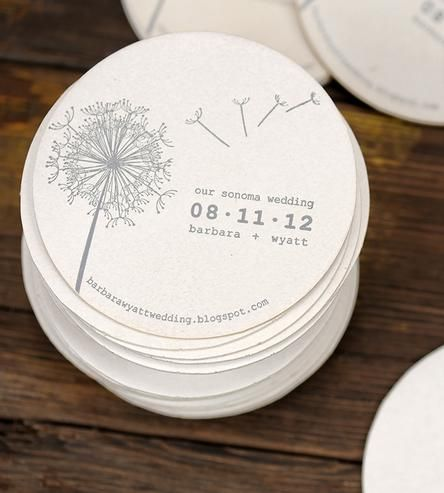 Custom Dandelion Wedding Coasters 100-Pack by Ruff House Art on Scoutmob Shoppe