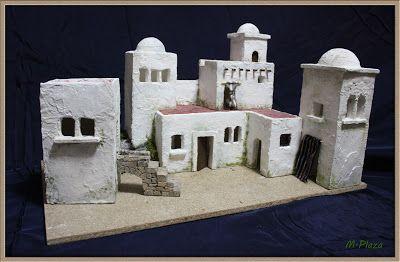 EL TALLER DE MIGUEL: ARTESANÍA PARA EL BELÉN: CONSTRUCCIONES: PUEBLO EN LEJANÍA