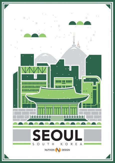 Cities Illustration, Seoul, by Nuthon Phengsathon, via Behance 서울이라는 주제로 깔끔하고 핵심적이게 디자인 한것이 마음에 든다.