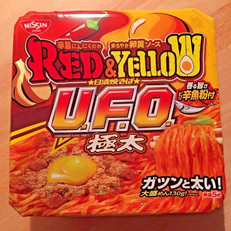 Nisshin, UFO, Red & Yellow, Sauce Yakisoba Instant Noodle, Thick and Large,Japan #Nissin