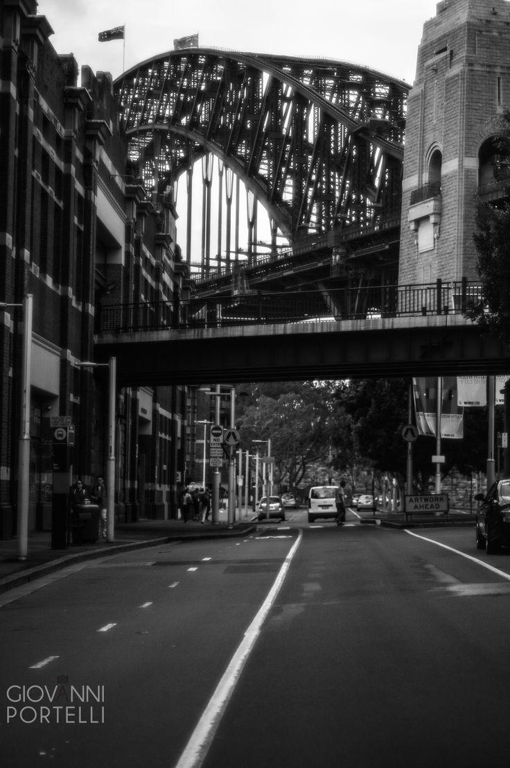 Sydney Harbour Bridge. Black and white.