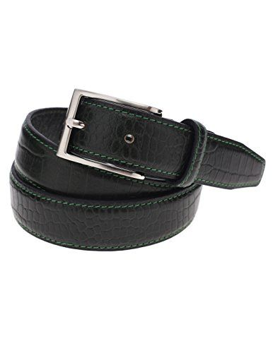 FLATSEVEN Mens Genuine Leather Crocodile Skin Embossed Silver Buckle Classic Belt (Y409), Green  #FLATSEVEN #Men #clothing #fashion #outfits #belts #accessories