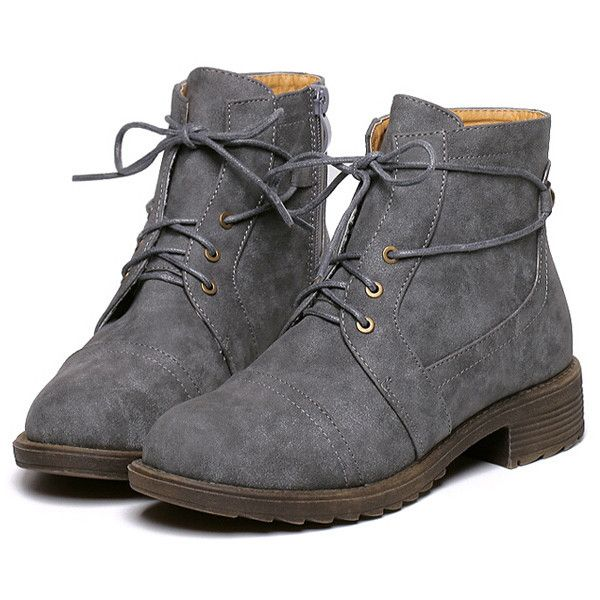 Grey Round Toe Lace Up Boots (155 PLN) ❤ liked on Polyvore featuring shoes, boots, ankle booties, black, black platform booties, gray booties, black platform boots, grey booties and chunky black boots