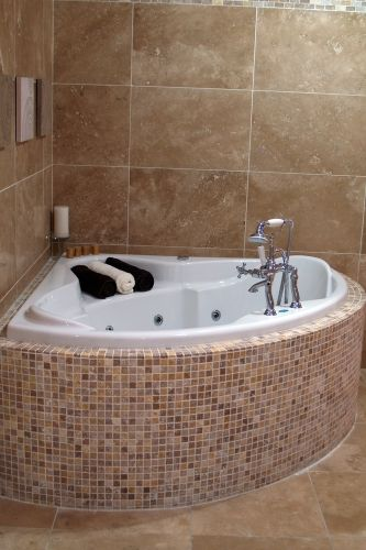 """Could use those """"hardwood flooring"""" style ceramic tiles around our tub. Bathroom Remodeling Pictures 