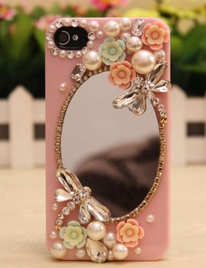 Sparkly Mirror flowers Hard Back Mobile phone Case Cover Rhinestone Case Cover for iPhone 4 4s 5 5c 5s 6 6 plus Samsung galaxy s3 s4 s5 s6 note2 3 4