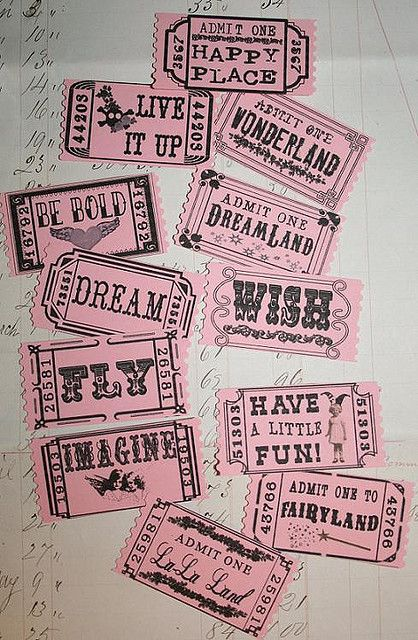 creativemuggle:    pink tickets by Sea Dream Studio on Flickr.  I'll take one of each, please!♥♥